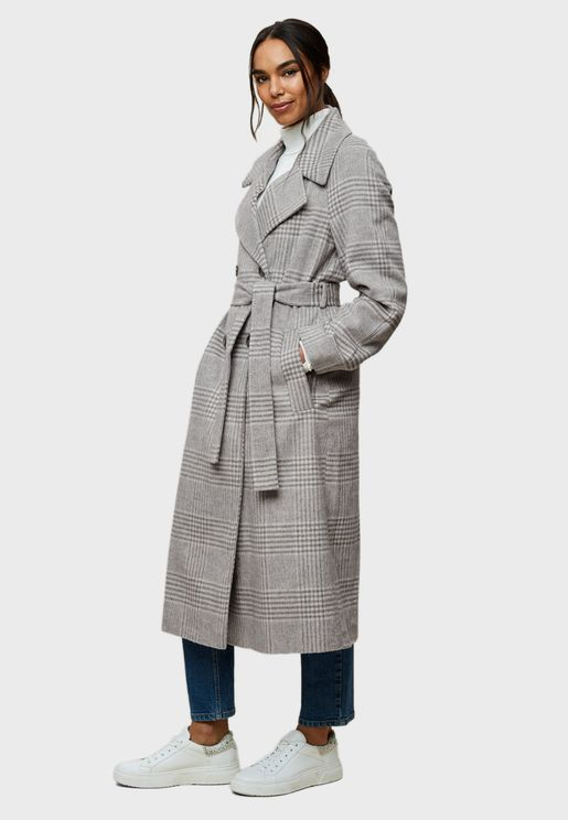 Tie Waist Double Breasted Coat