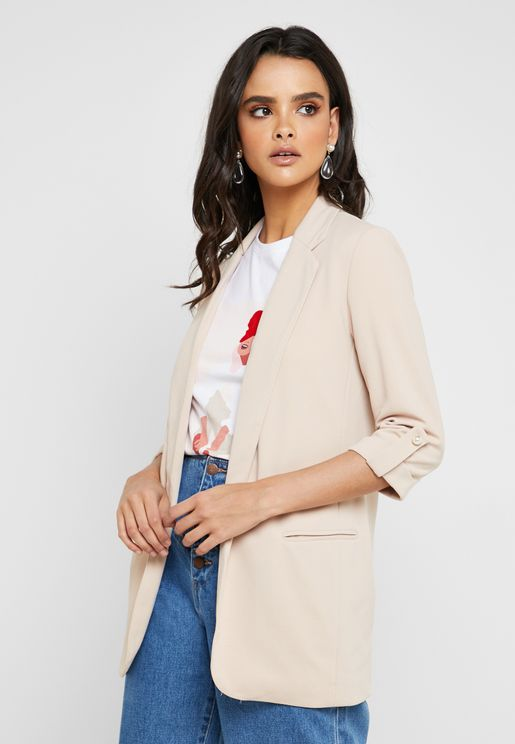Roll Sleeve Open Front Blazer