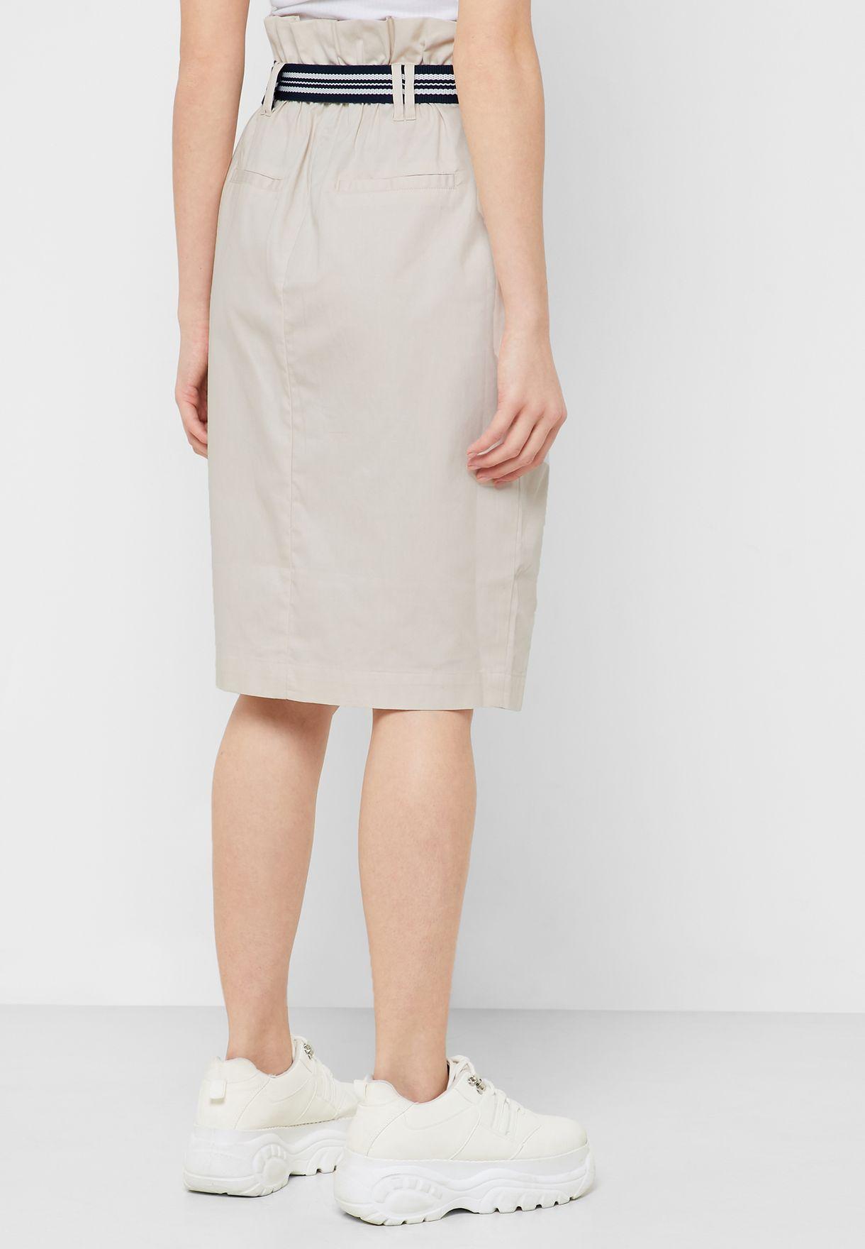 Paperbag Waist Button Through Skirt