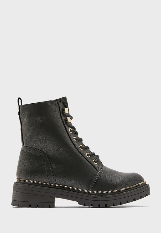 Lace Up With Zip Ankle Boots