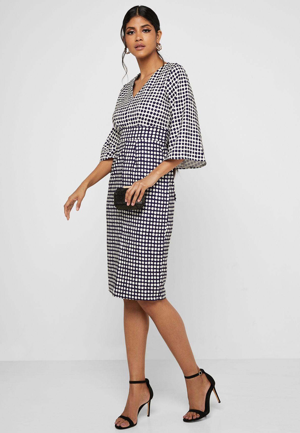 Printed 3/4 Sleeve Midi Dress