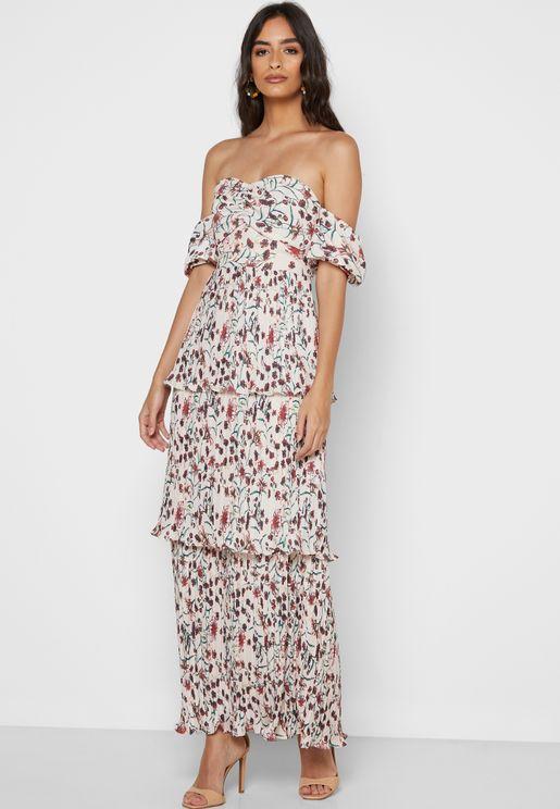 فستان مكشوف الاكتاف بطبعات ازهار