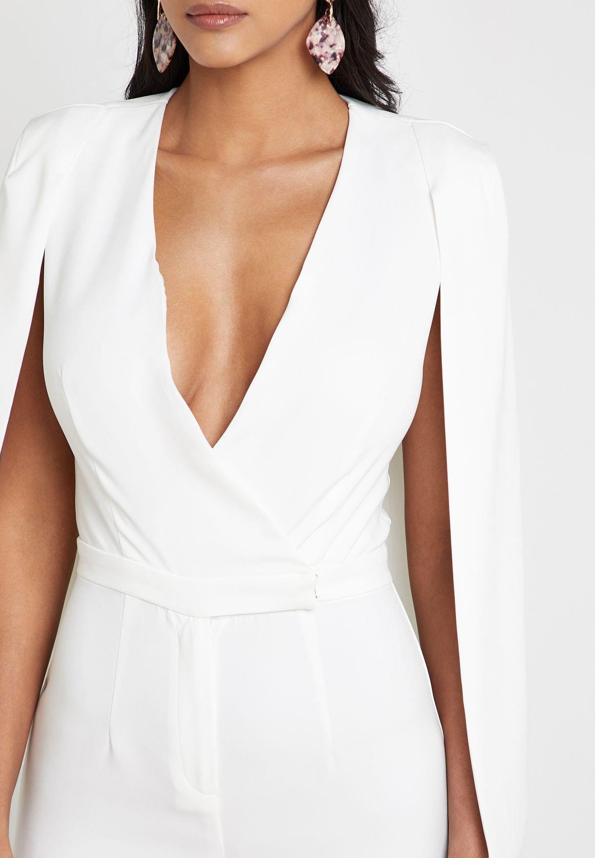 f01893b1e54 Shop Lavish Alice white Lace Insert Cape Sleeve Jumpsuit LA11019 for ...