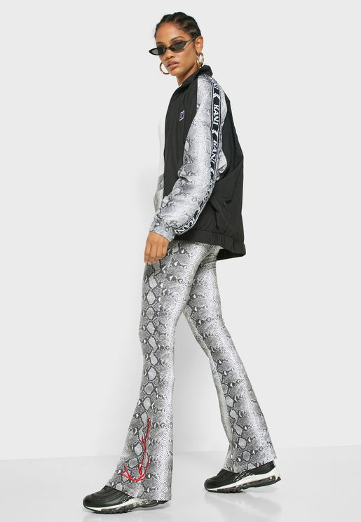 Signature Snake Print Flared Pants