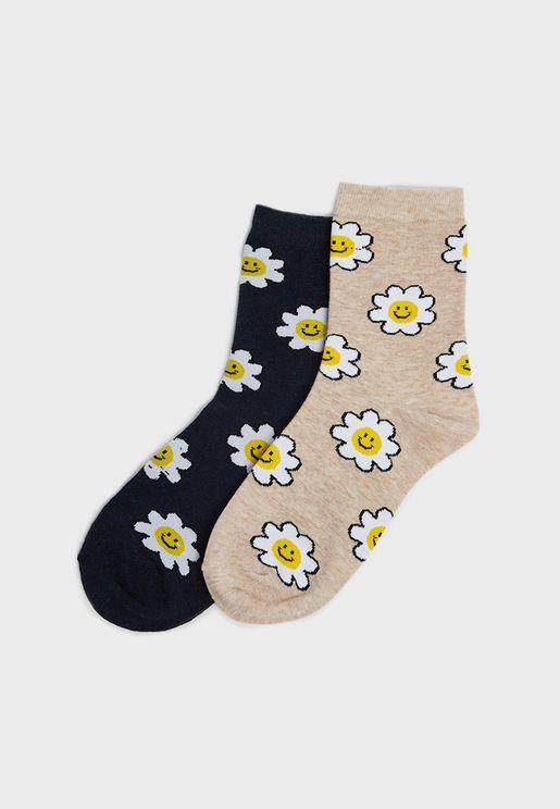 2 Pack Daisy Print Ankle Socks