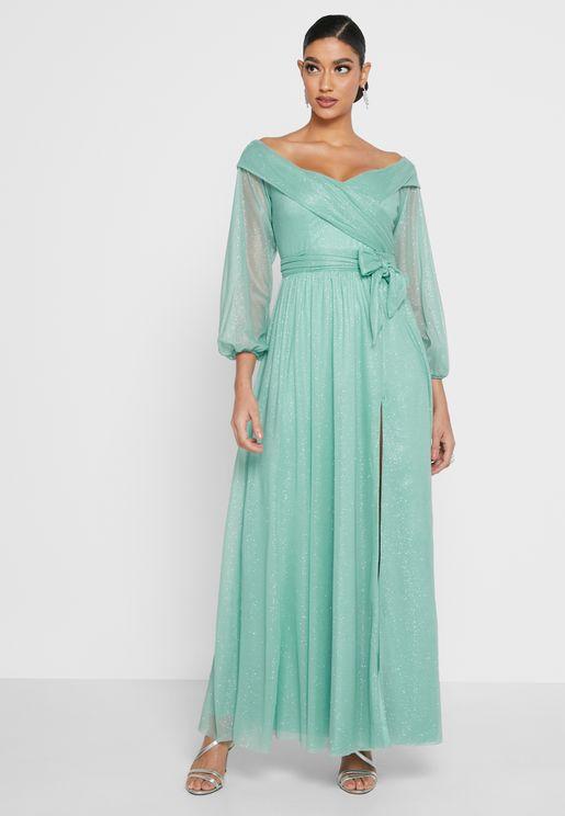 Off Shoulder Tule Slit Dress