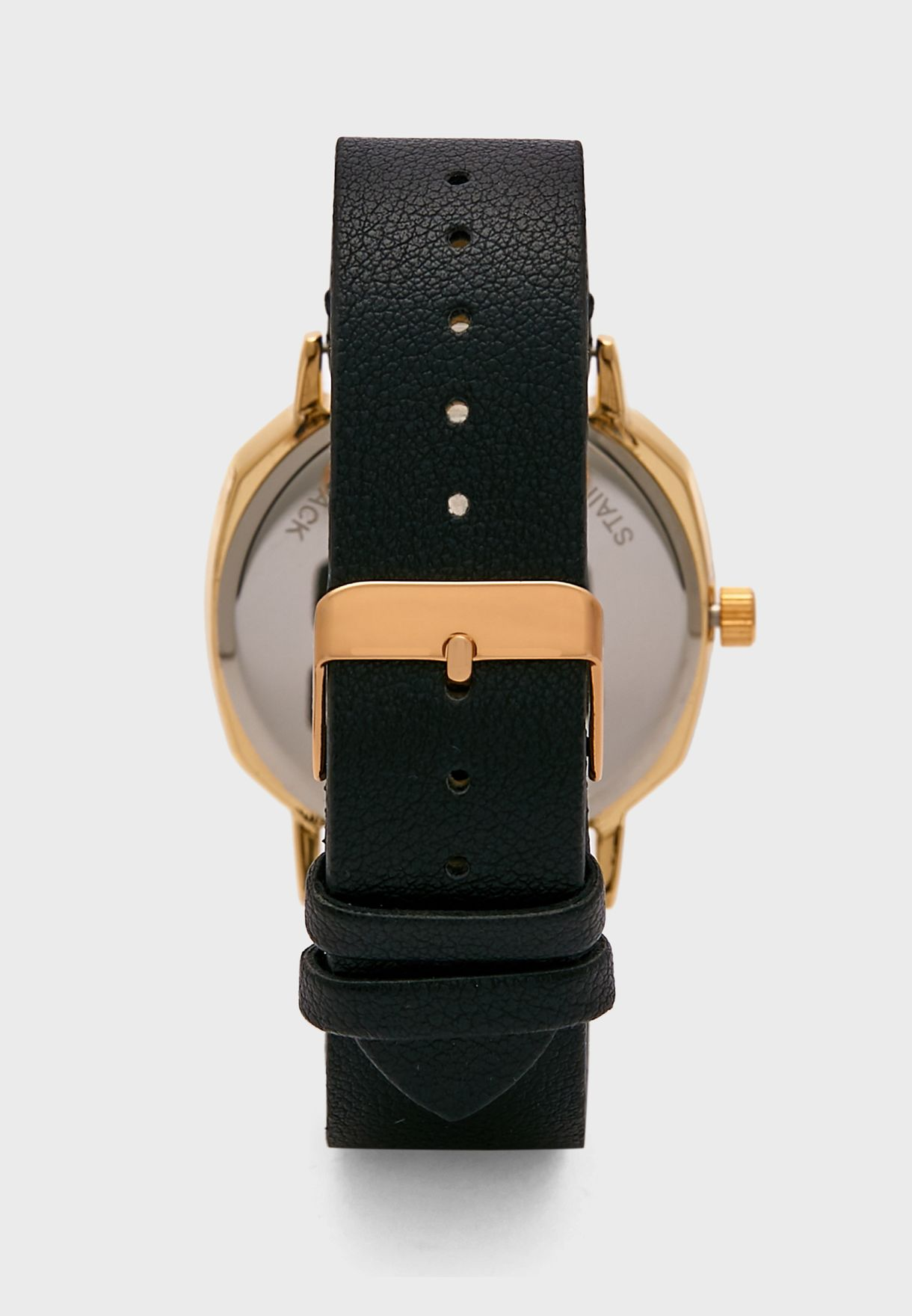 Gold Case Black Detail Analogue Watch