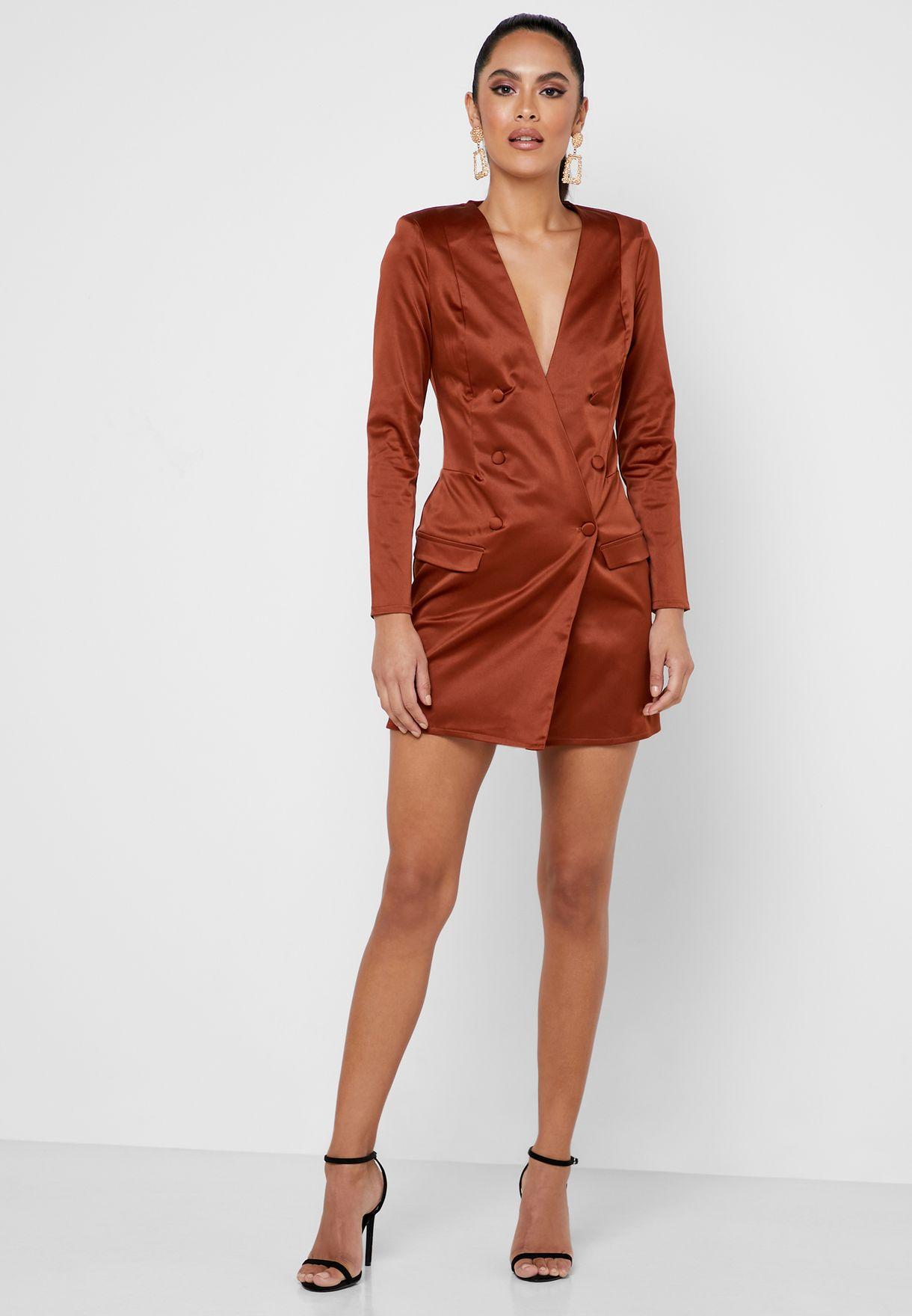Plunge Blazer Dress