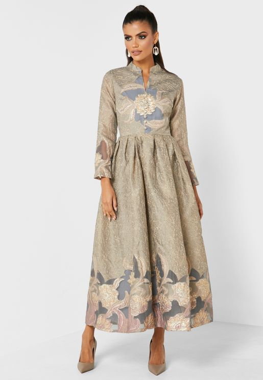 Jacquard Button Down Dress