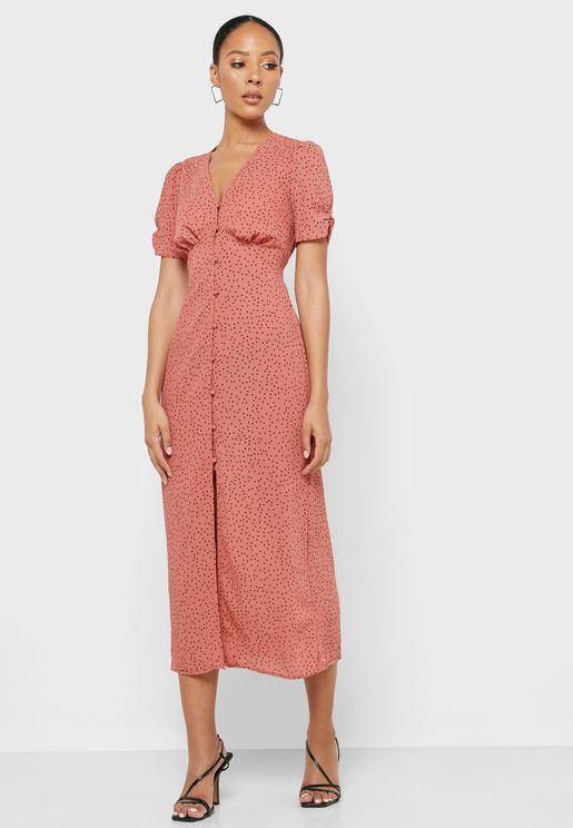 Button Down Front Split Dress