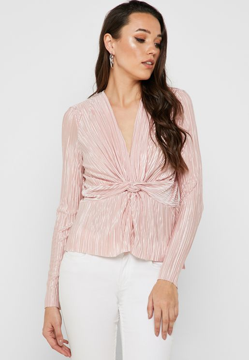 Plisse Twisted Front Top