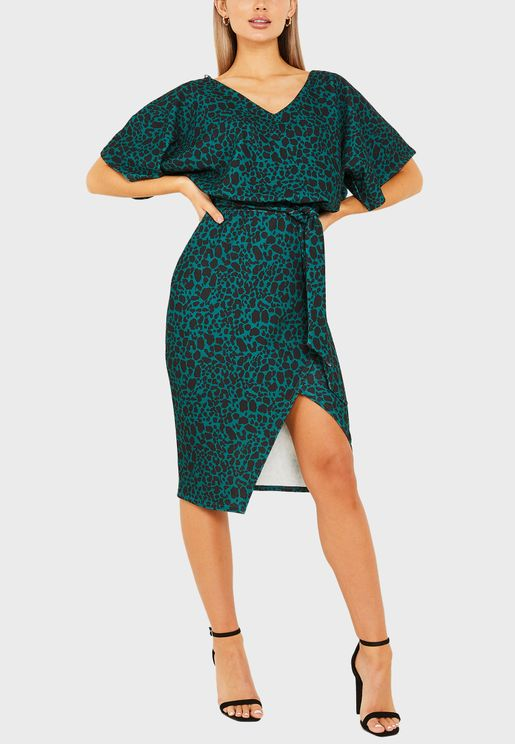 V-Neck Bat Wing Wrap Midi Dress