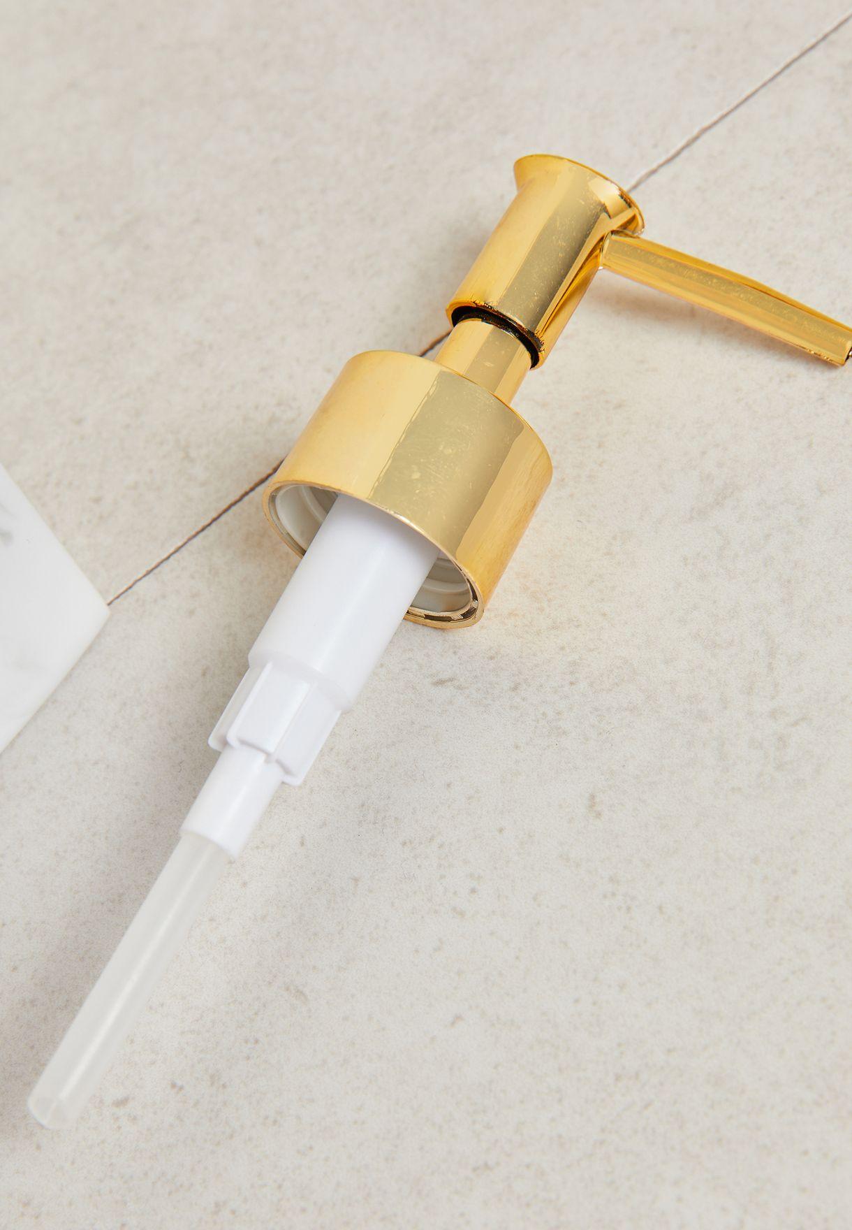 White & Gold Marble Soap Dispenser