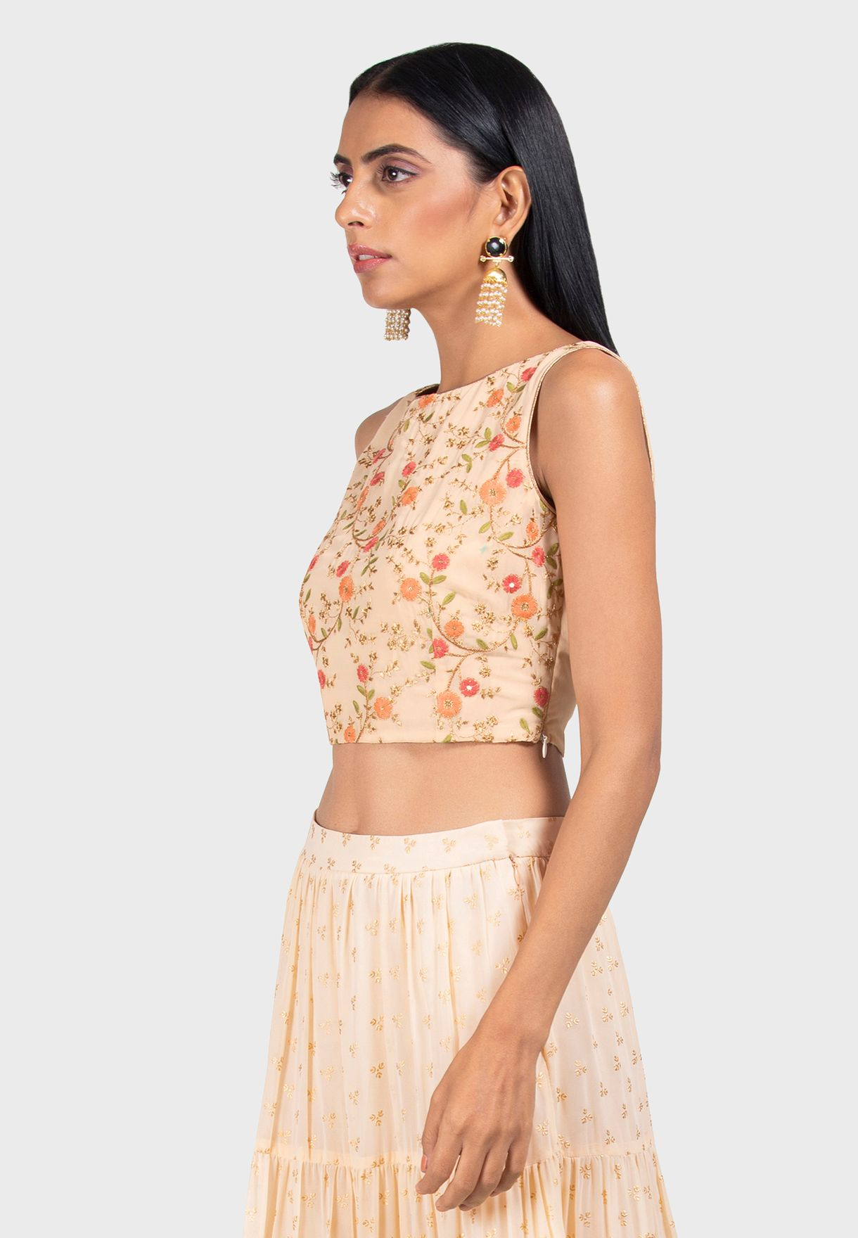 Ivory Boat Neck Embroidered Crop Top