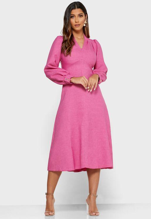 V-Neck Puff Sleeve Dress