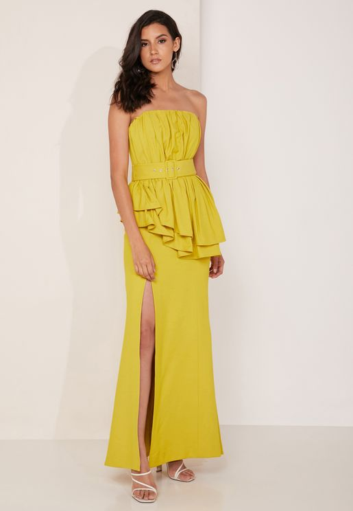 Silenced Belted Bandeau Maxi Dress
