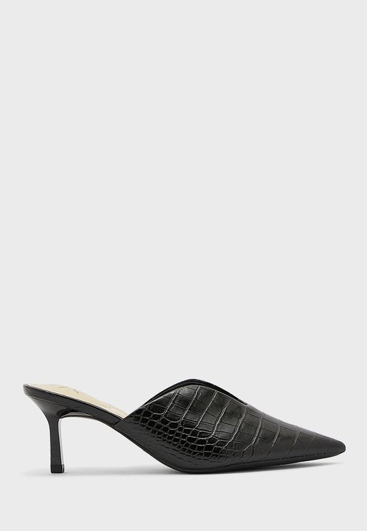 Wnkapps9X93 Pointed Textured Mid-Heel Sandals