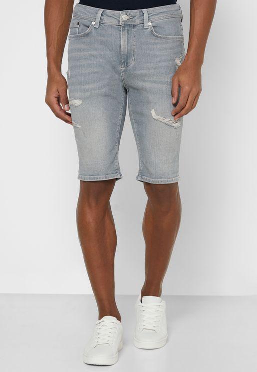 Skinny Ripped Denim Shorts