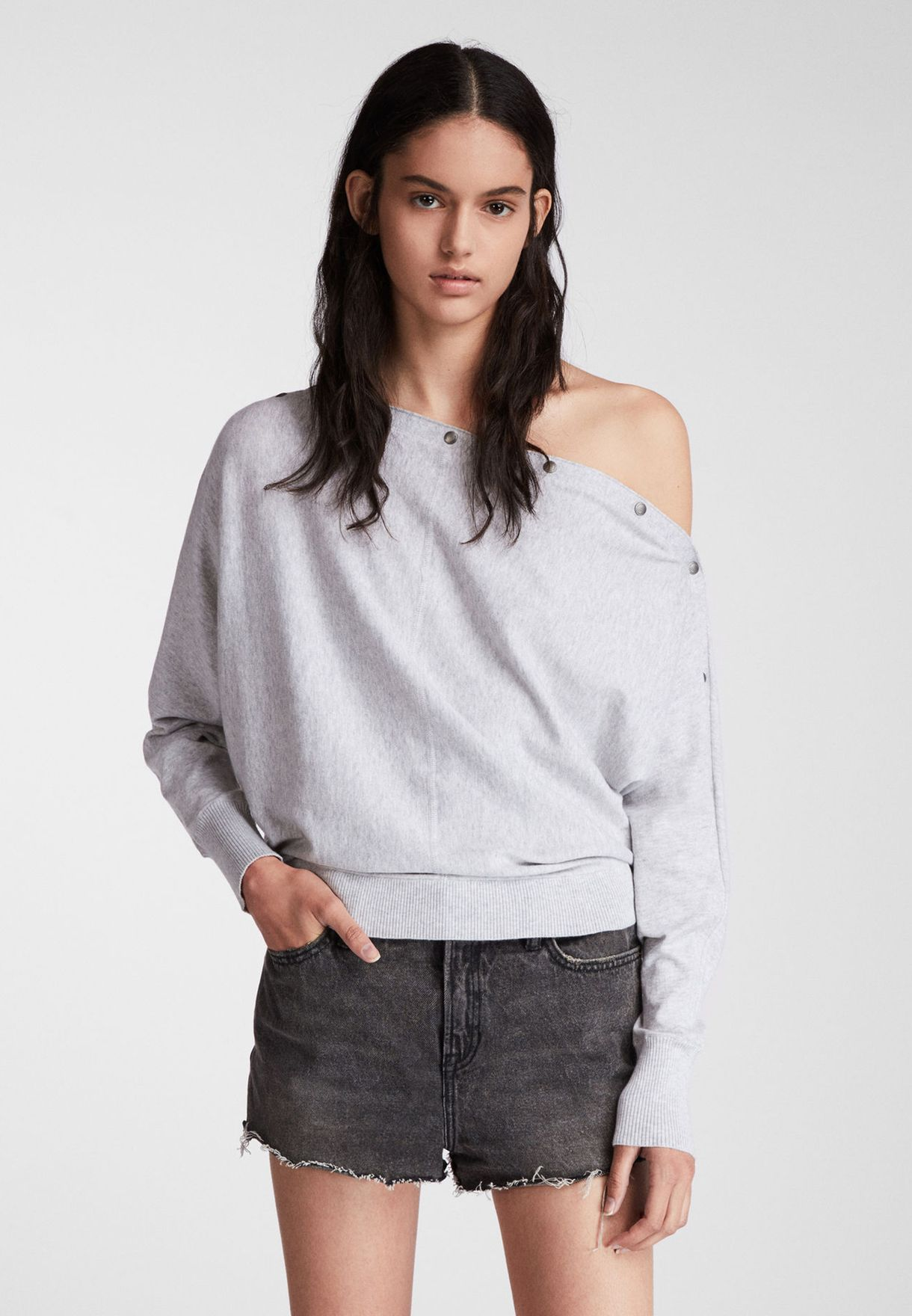 Elle Button Detail Bardot Sweater