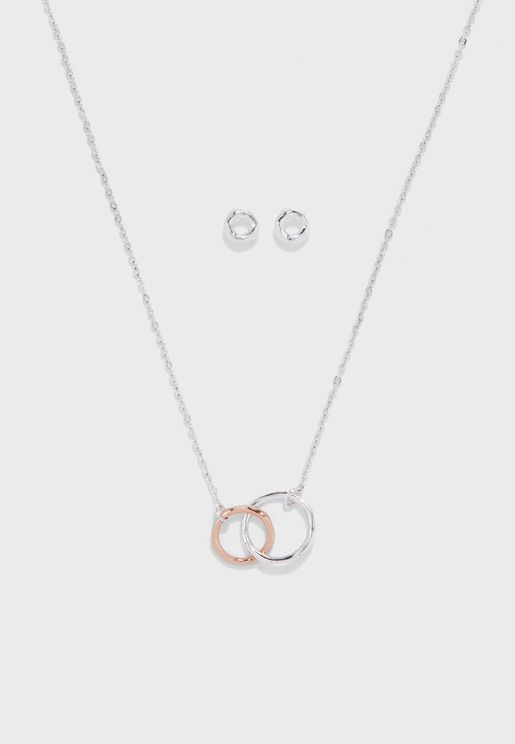 Entwined Ring+Earrings+Pendant Necklace Set