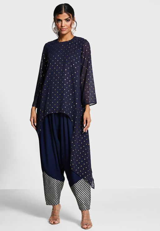Indya X Payal Singhal Navy Embroidered Cuff Pleated Pants