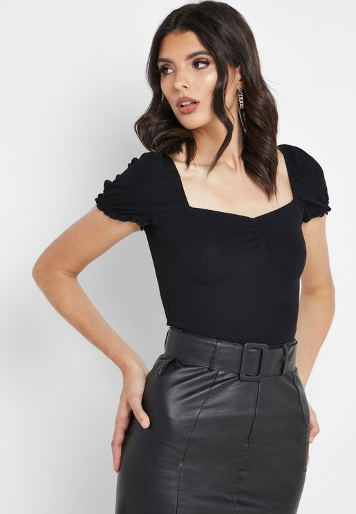 Ruched Detail Square Neck T-Shirt