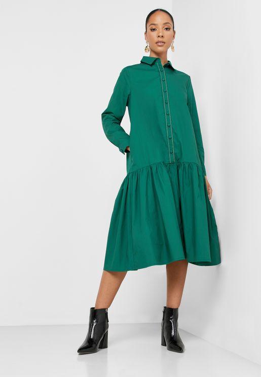 Ruffle Hem Shirt Dress