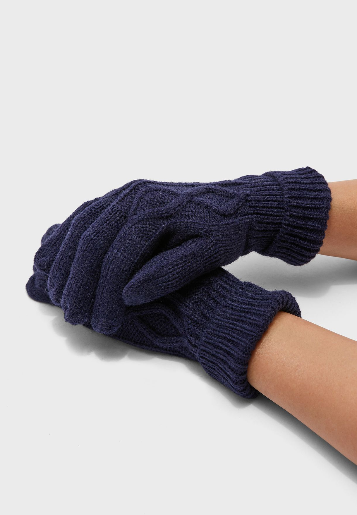 Mens Knitted Cable Gloves