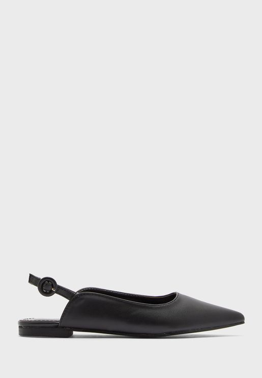 Buckle Detail Pointed Slip On