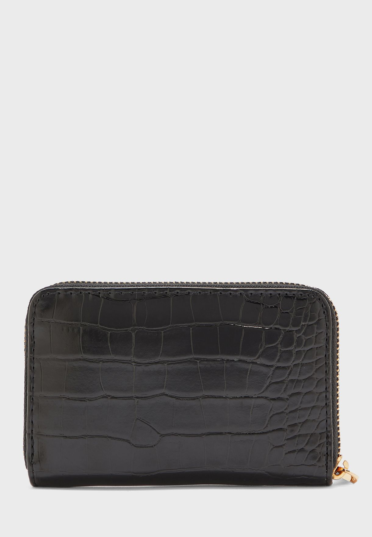 Croc Detail Zip Through Purse