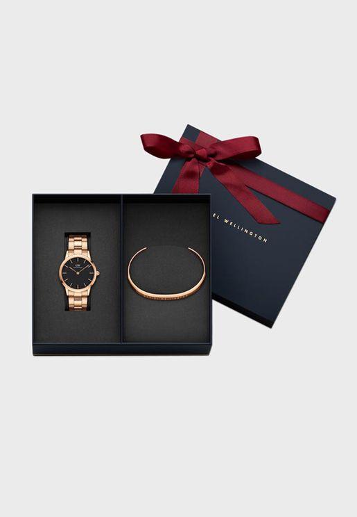 Iconic Link, 36mm Rose Gold Black Watch + Rose Gold ILY Bracelet