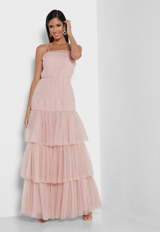 Bandeau Ruched Detail Layered Dress