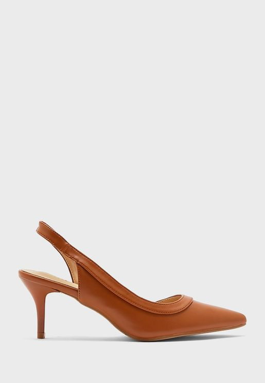 Curved Strap Slingback Pointed Pump