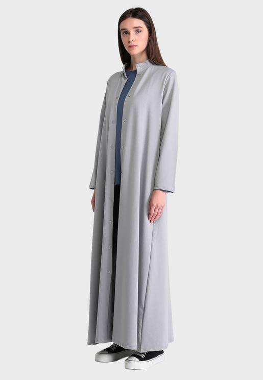 معطف طويل بياقة صينية