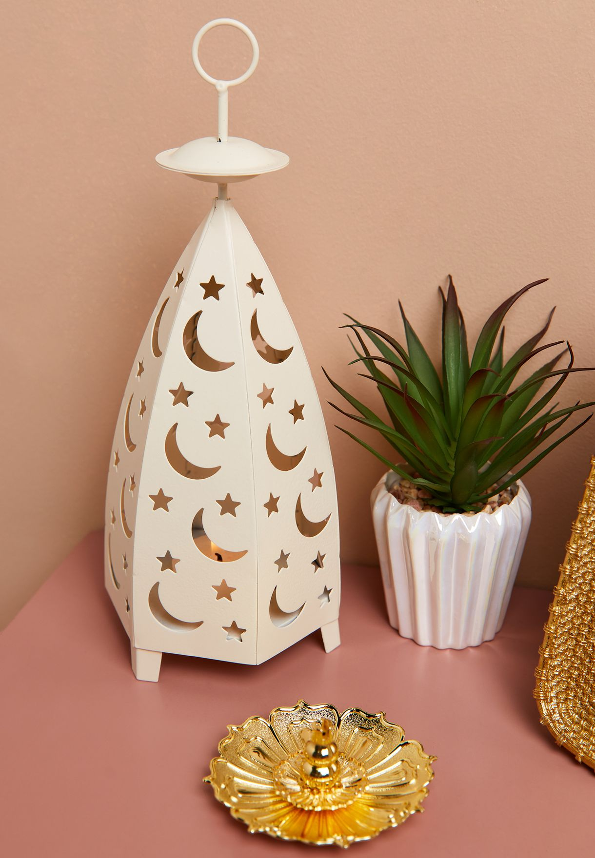 White Moon Candle Holder