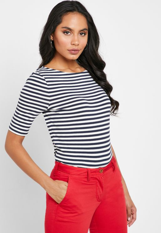 Boat Neck Striped T-Shirt
