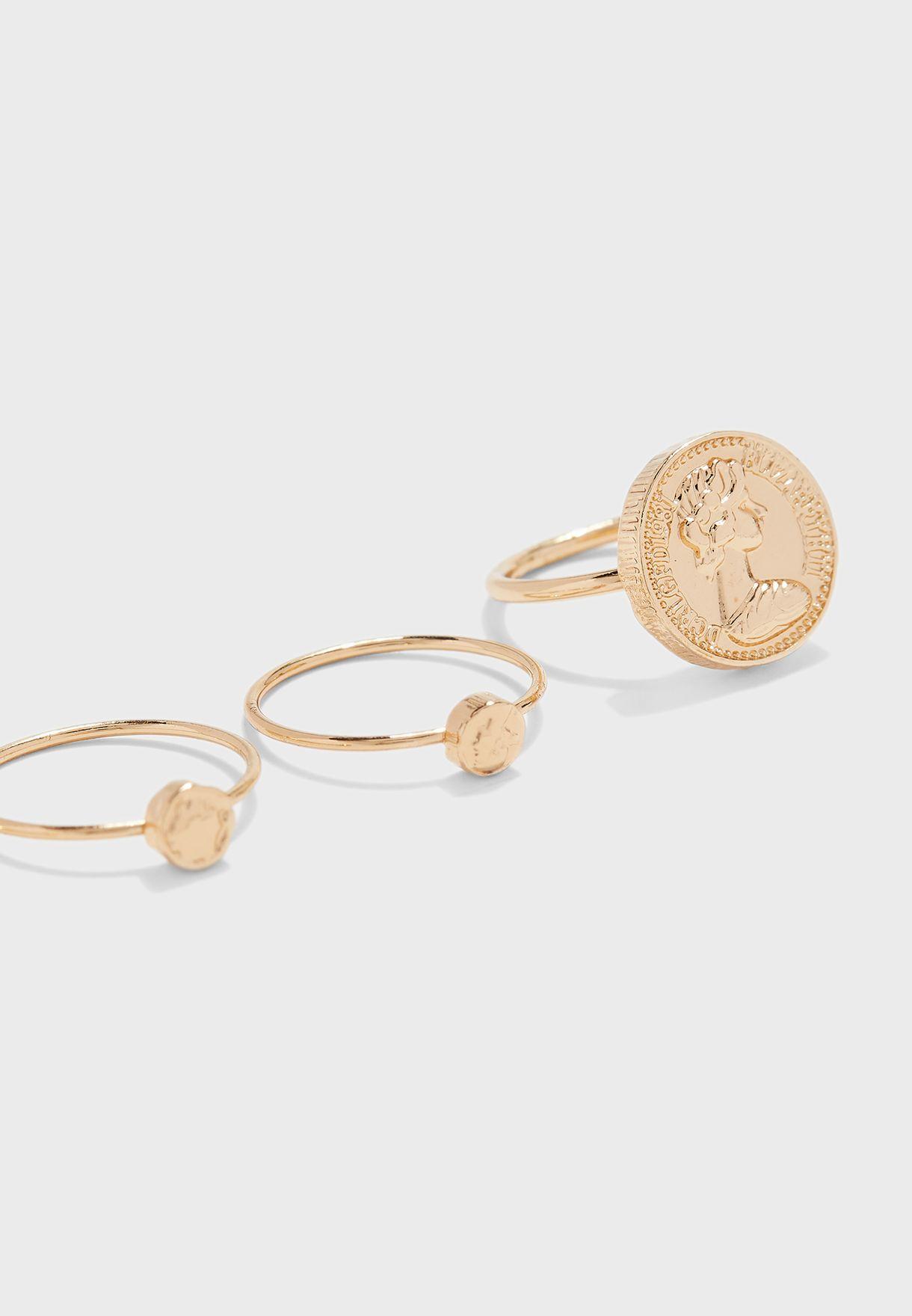 Coin Metal Rings Set