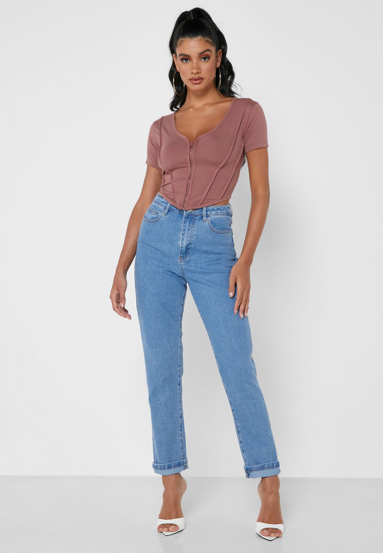High Waist Mid Wash Jeans