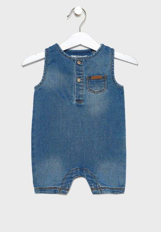 Infant Mid Wash Denim Romper