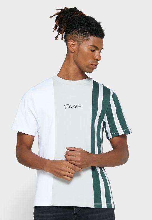 Stripe Block Crew Neck T-Shirt