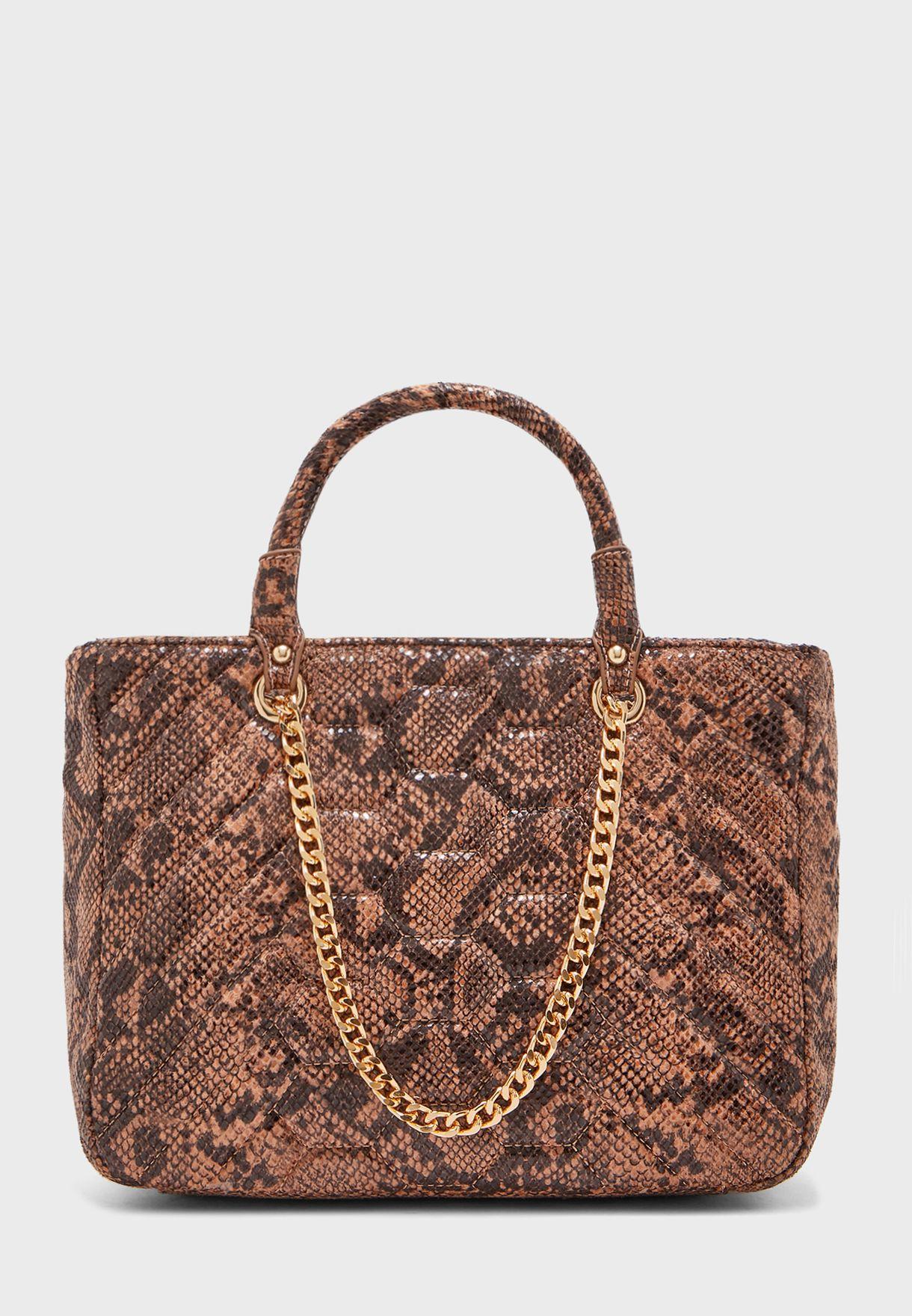 Chain Detail Top Handle Shopper