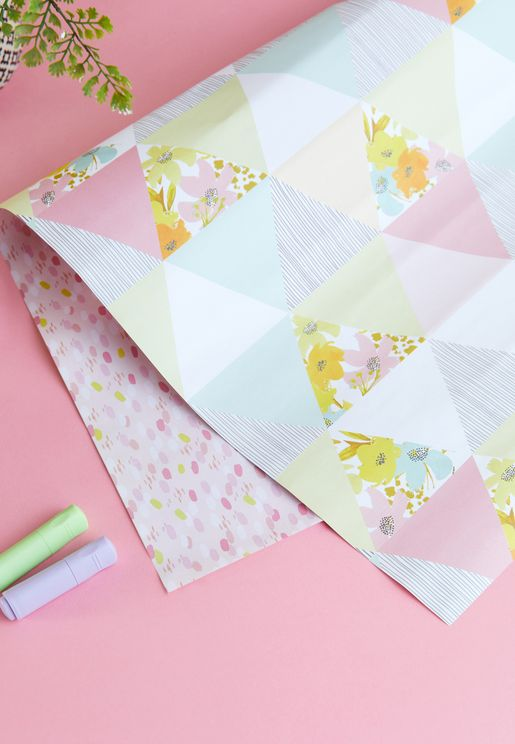 Baby Girl Triangles Wrapping Paper