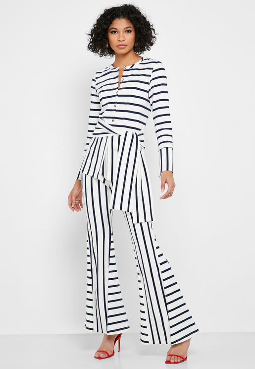 Wide Leg Striped Pants