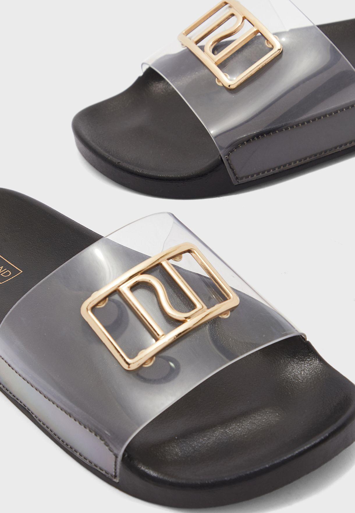 Perspex Branded Flat Sandal