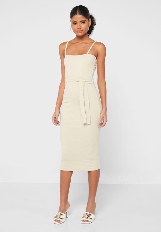 Strappy Belt Detail Bodycon Dress