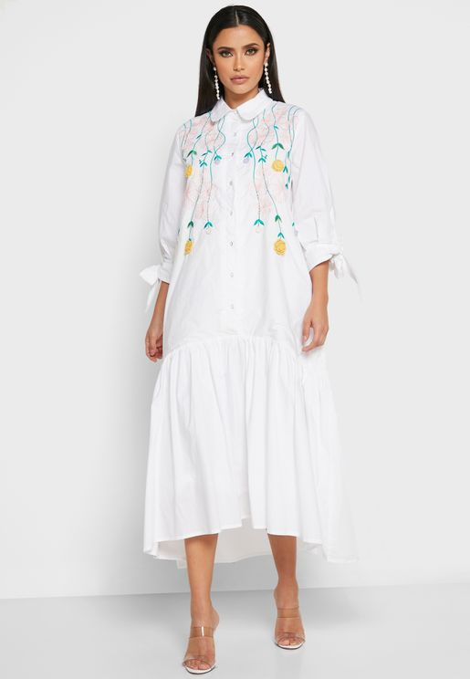 Embroidered Ruffle Hem Shirt Dress