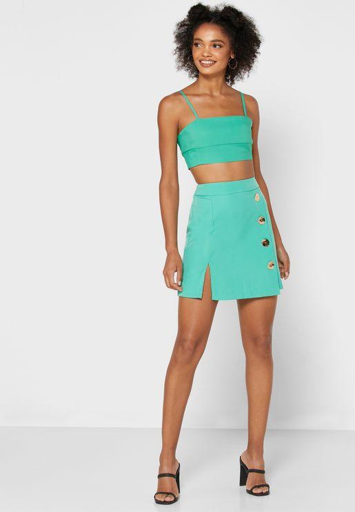 Button Down Wrap Skirt