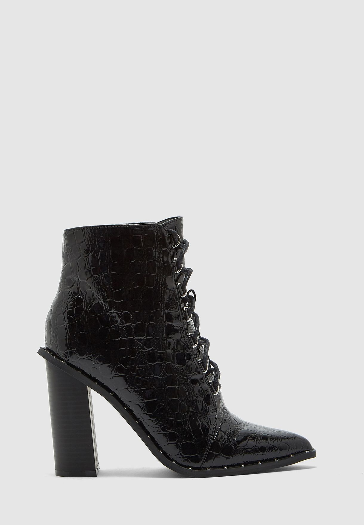 Croc Lace Up Pointed Toe Boot