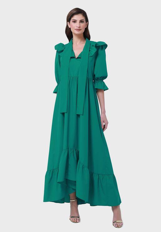 High Low Pleated Tiered Hem Dress