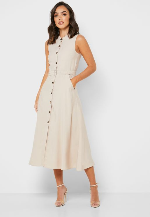 Button Down Belted UtilityMidi Dress